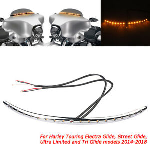 Windshield Trim Turn Signal LED Light For Harley Touring Electra Glide 2014-2018