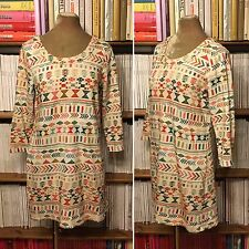 VALENTINE GAUTHIER Paris cotton ethnic geometric print sweatshirt dress robe S-M