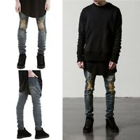 Hot Sale Men's Denim Zipper Skinny Biker Jeans Pants Ripped Destroyed Trousers