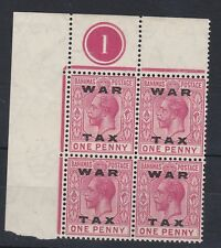 1919 GV OVPT WAR TAX Type 14 1d CARMINE BLOCK OF 4 CYL 1 UNMOUNTED MINT SG103