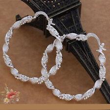 Nuevo par de grandes Plata trenzado Bead Diseño Aro earrings-uk vendedor