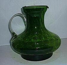 STUNNING UNUSUAL SHAPE LARGE VINTAGE RETRO GREEN GLASS JUG PITCHER 20cm HIGH