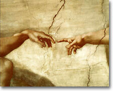 4 FOOT Michaelangelo CREATION OF ADAM Hand Stretched Giclee Art Repro Religious
