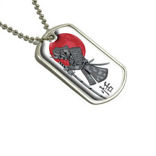 Samurai and Red Moon - Japanese Asian Sword - Military Dog Tag Keychain