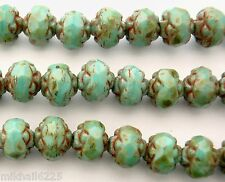 25 5 x 6 mm Czech Glass Small Rosebud Beads: Opaque Turquoise - Picasso Full
