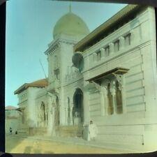Magic Lantern Glass Slide Photo Algeria Africa Beskra Town Hall Color