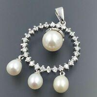 Fresh Water Pearl & Round Cut Diamond Round Dangle Pendant 925 Sterling Silver