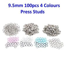 100 x 9.5mm Snap Poppers Brass Press Studs Prong Ring Button Fasteners 4 Colours