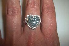 10k White Gold GENUINE BLUE DIAMOND Pave Heart ring .50 CT size 6 STUNNING