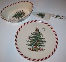 "3 NEW Spode PEPPERMINT Christmas Tree Serving Pcs 9"" OVAL BOWL/CAKE PLATE SERVER"