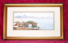 """Maria Gianni (1873-1956) DIPINTO ORIGINALE TEMPERA """"il Golfo di Napoli"""""""
