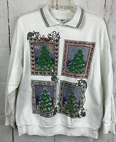 Nutcracker Holiday Ugly  Christmas Sweatshirt Cross Stitch Look Glitter Cats M