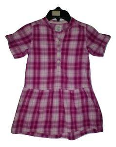 H&M Girls Pink Plaid Short Sleeve Dress Size 110 4 Years