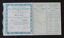 Action EXPOSITION ARTS DECORATIFS ET INDUSTRIELS PARIS 1925 titre bond share 2