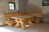 Rustikale Gartenmöbel, Holz Massiv, Sitzgruppe, Tisch, Bank, Eckbank, Esche