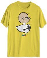 Peanuts Mens T-Shirt Yellow Small S Snoopy Charlie Avaf Faceoff Crewneck 434
