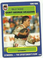 1990 NRL SCANLENS STIMOROL ST GEORGE DRAGONS BILLY NOKE #126 CARD