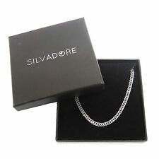 Silvadore - FINE CURB Silver Stainless Steel Men's Chain 20'' - Cardboard Box
