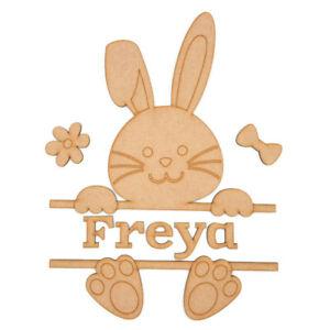 Personalised Wooden MDF Easter Bunny rabbit nursery baby name sign hoop gift