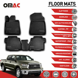Floor Mats Liner 3D Molded Black for Toyota Tundra Double Cab/CrewMax 2007-2013