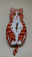 Wagging Tail Cat  Wall Clock for Cat Kitten Lovers Orange Tabby Cat Closeout