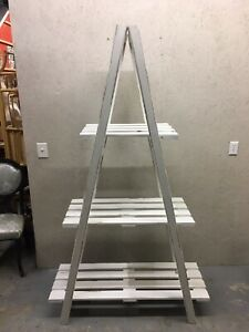 Large 3 Tier Wooden Ladder Style Shelf Collapsable Folding Wood Distressed White