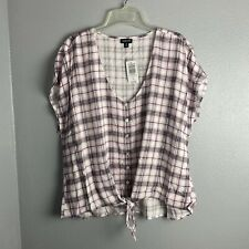 Torrid Size 0 Top Plaid Women's Purple White Black Short Sleeve Knot Front NEW