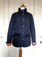 Joules Ladies Navy Blue Quilted Jacket Floral Lining Front Pockets Jacket Uk12💕