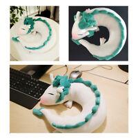 Anime Spirited Away White Dragon Haku Animal U-Shape Neck Pillow Plush Doll Toy