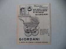 advertising Pubblicità 1962 CARROZZINA PASSEGGINO GIORDANI