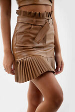 New Womens Ladies Girls  Faux Leather Pleated Belted Mini Skirt 8-14