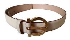Authentic Salvatore Ferragamo Classic women beige leather belt  [USED]