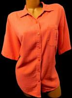 White stag coral orange women's plus size short sleeve button down top 14W/16W