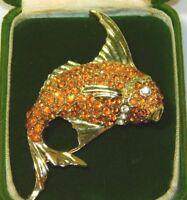 Vintage Dazzling Yellow Rhinestone Carp Koy Fish Gold tone Brooch Pin 11d 51