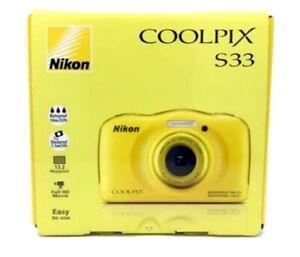 NIKON Coolpix S33 WATERPROOF Compact Digital Camera 13MP YELLOW *NEW*