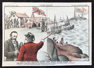 """United Ireland"" 1890 Original Printed Caricature - Farm Evictions"