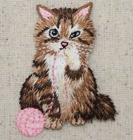 Brown Cat/Kitten Playing Pink Yarn Ball Pets Iron on Applique/Embroidered Patch