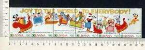 36431) GUYANA 1991 MNH** Disney christmas cards 5v strip