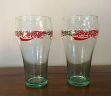 Vintage Coca-Cola Coke Christmas Holiday Bells Holly Collectible Glasses Lot (2)