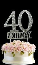 Crystal Monogran Happy 40th Birthday Cake Topper Rhinestone Diamante Silver