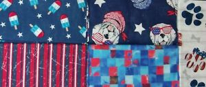 "5 FAT QUARTERS 1 1/4"" YARDS Dog Red White Blue Patriotic Cotton Fabric FREE SHIP"