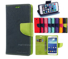 Dual Color Flip Wallet Folio Case Soft Skin Stand Cover For Samsung iPhone HTC