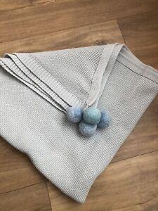 Baby Blue Boys Pom Pom Knitted Blanket