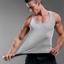Hombre Liso camiseta De tirantes Top Espalda Músculo Sin mangas Algodón Gimnasio