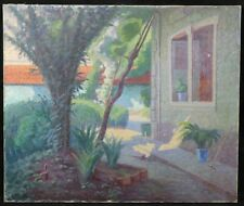 Antique Oil on Canvas Signature Landscape Impressionist Trees Flowers Jardin