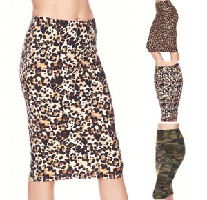 Women's Casual High Waist Pencil Skirt Basic Prints Stretch Knit Straight Knee