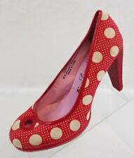 Poetic License London Doll Face Pumps Womens Red Beige Polka Dot Shoes Size 6.5