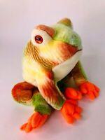 TY Beanie Buddies 2001 Frog HTF Tie Dye Medium Soft Plush Fabric Toy VGC
