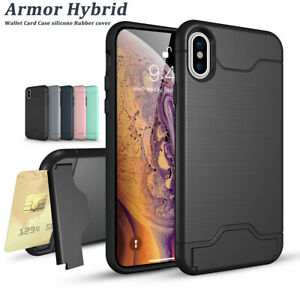 For iPhone XS X 7 8 Plus 6s Wallet Card Slot Holder Armor Shockproof Case Cover