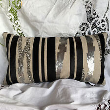"DESIGNER embelished cotton bolster 22x11"" sequins genuine black hide"